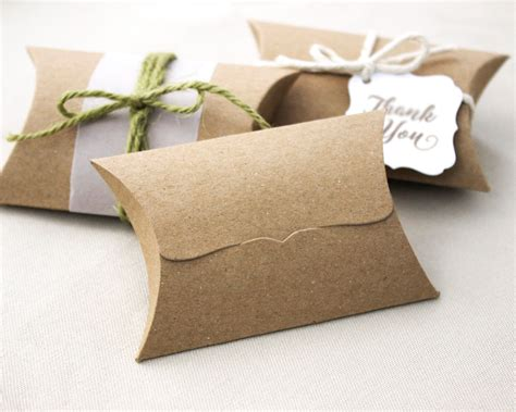 Gift Card Pillow Box - 50 kraft pillow boxes unique tab closure medium packaging or favor box lot