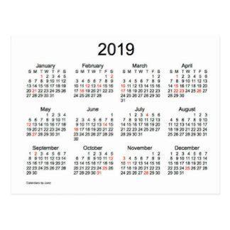 2019 calendar postcards zazzle