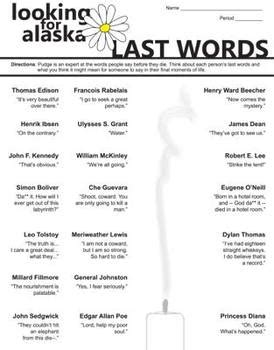 LOOKING FOR ALASKA Last Words Activity (by John Green) by