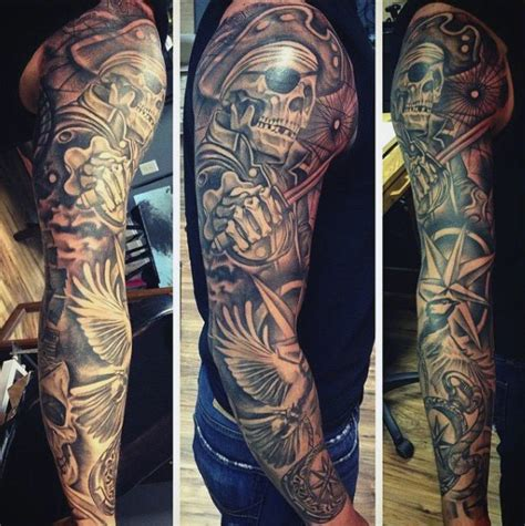pirate tattoo sleeve designs 50 pirate tattoos for arrr ships and eye patches