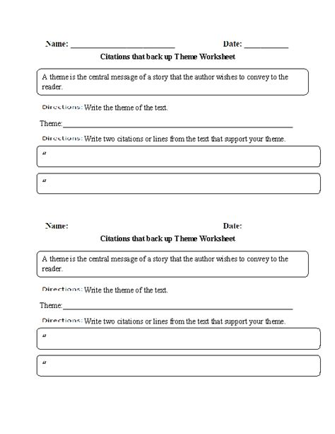 theme exles 4th grade theme worksheets citations that back up theme