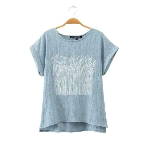 Tshirt Cloth summer clothing t shirt sleeve breathable fabric cotton linen blend print top tees t