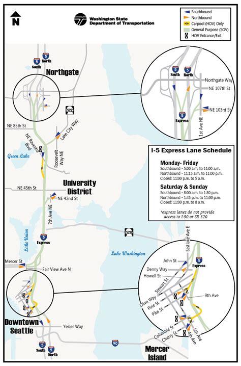 seattle map i5 i 5 express map