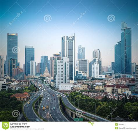 modern city modern city elevated road in shanghai stock image image