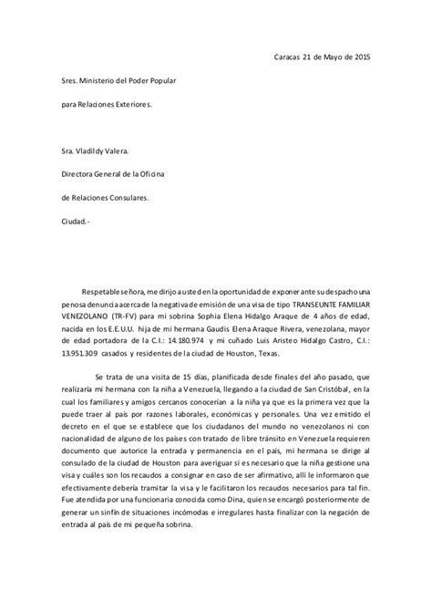 Carta Formal Al Director carta a la directora general de la oficina de relaciones consulares