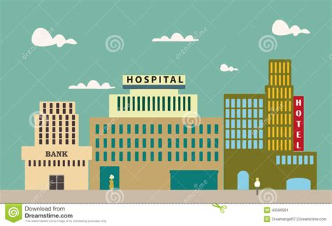 bank hospital simple city background stock vector image 43560561
