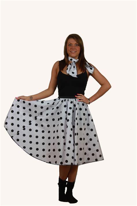 Rok Set Bandana rock n roll skirt scarf set 1950s 1960s white black