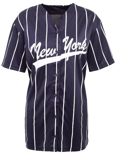 Blouse Atasan New York damen amerikanisch baseball new york streifen uni ny trikot top t shirt ebay