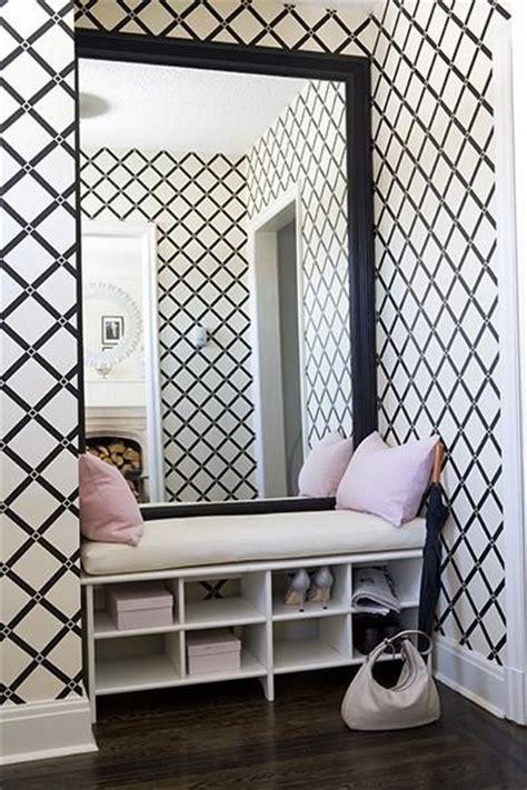 black and white lattice wallpaper make an entrance black and white trellis wallpaper with