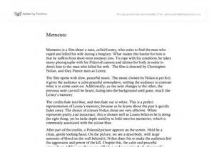Memento Essay by Memento Opening Gcse Marked By Teachers