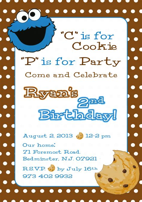 Cookie Monster Invitation Sesame Street Invite Cookie Cookie Invitations Templates