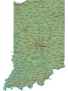 Indiana State Map by Detailed Indiana Map In Terrain Map