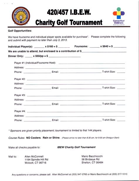 golf outing registration form template sponsorship letter for charity golf tournament 28 images