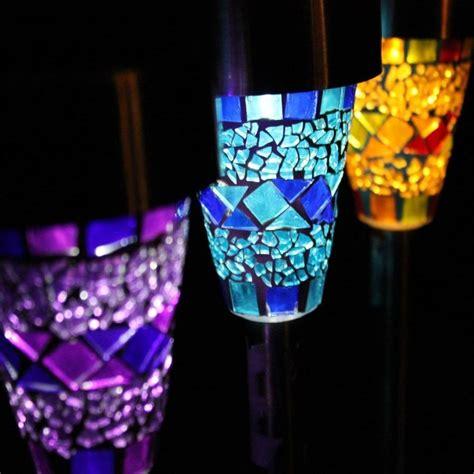 Three Mosaic Glass Garden Border Solar Lights By Garden Glass Solar Garden Lights