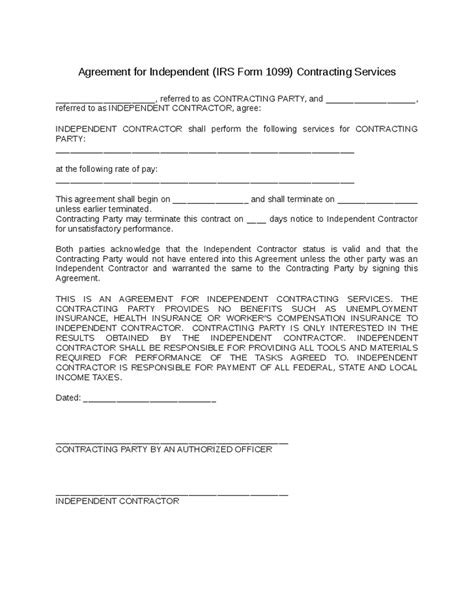 1099 contractor agreement template independent contractor agreement hashdoc