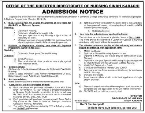 Admission Note To Detox Level Of Care by Directorate Of Nursing Sindh Karachi Admission 2014 Form