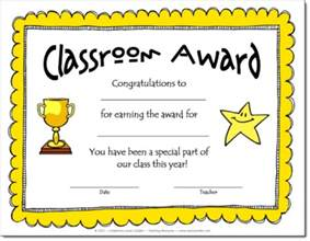 Free Award Certificate Templates For Students by Corkboard Connections Classroom Awards Make Feel