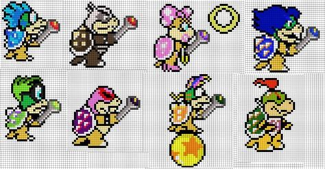 super mario pixel art by sullyvancraft on deviantart koopalings and bowser jr by orangedelightfulness perler