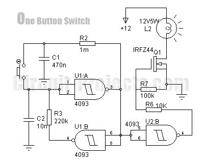 Ic Power Cmos Hcf4069ube one button on switch with 4093 and irfz44 eeweb