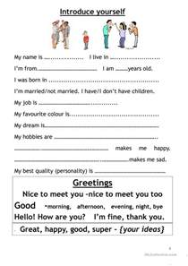 Introduce Yourself Sle Essay by Introduce Myself Worksheet Free Esl Printable Worksheets Made By Teachers