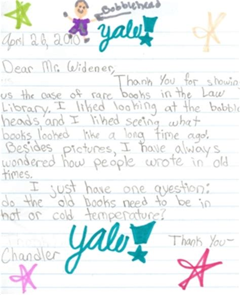 Thank You Letter Yale Fan Letters From Fourth Graders Yale School Library