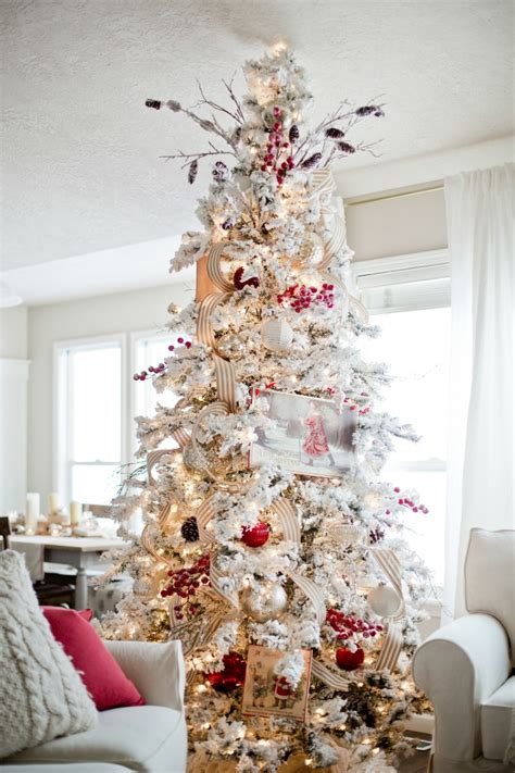 white flocked christmas tree decorating ideas f wall decal