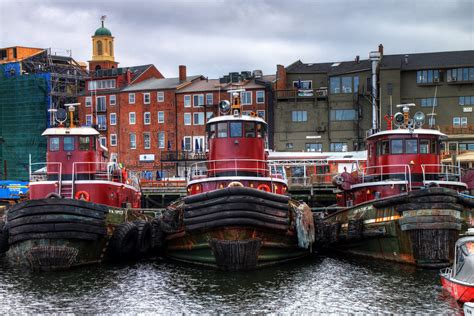 boat finder nh portsmouth tugboats in hdr three red moran tugboats