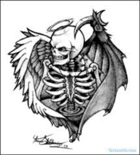 angel and demon tattoo drawings angel devil winged skull skulltattoo tattoo skull