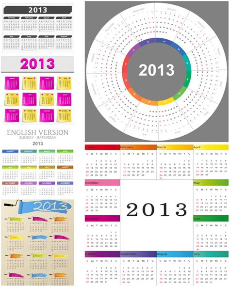 Different Calendars 2013 Calendar Templates With Standart Grid Design Rounded