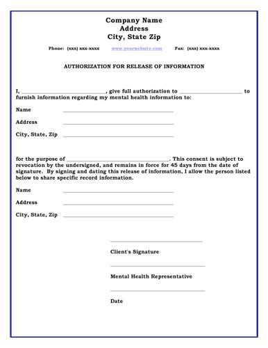 general release of information form template information form release of information