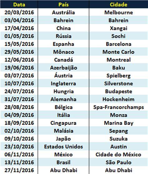 Calendario G P F1 2016 Entrelinhas F1 F1 2016 Calend 225 2016