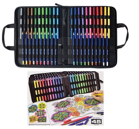 what colored pencils are best for coloring books 45 pc coloring kit in carry tip markers