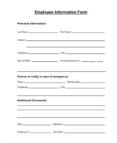 personal fact file template employee information form free employee personal