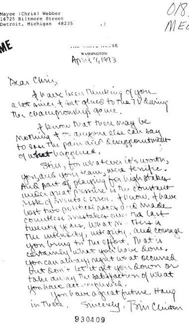 up letter dear loser chris bill clinton sent this letter to chris webber after the