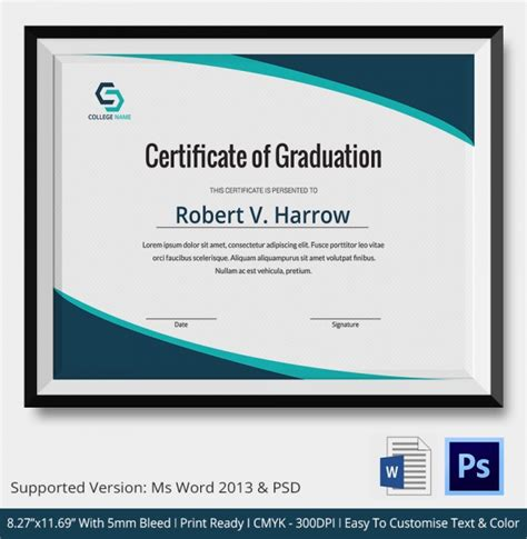simple certificate template 20 graduation certificates psd word
