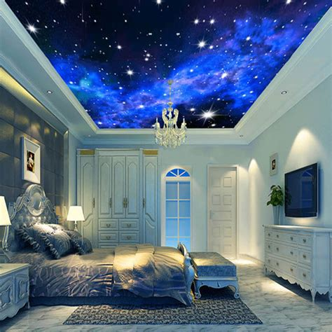 wallpaper mural night clouds star sky wall paper