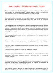 safety memo template memorandum of understanding for safety dotxes