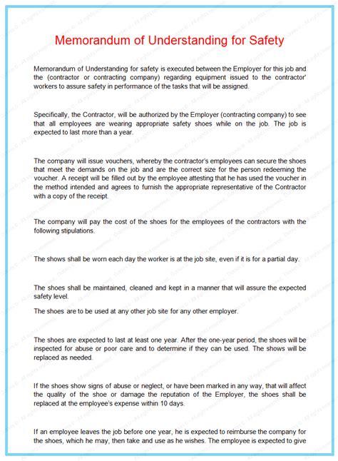 memorandum  understanding  safety dotxes