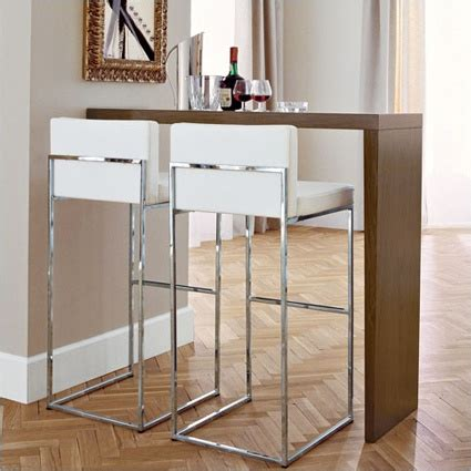 White Breakfast Bar Table White Leather And Chrome Home D 233 Cor
