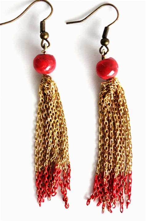 Chained Earring and gold chained tassel earrings