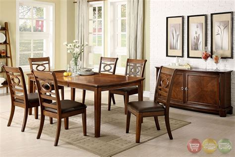 Carlton Brown Cherry Buffet Carlton I Contemporary Brown Cherry Formal Dining Set With