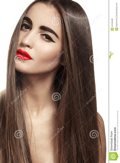 models with stright hair beautiful model with long straight hair red lips make up