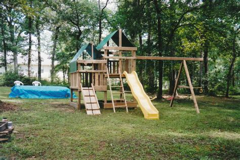 homemade swing sets gemini diy wood fort swingset plans jack s backyard