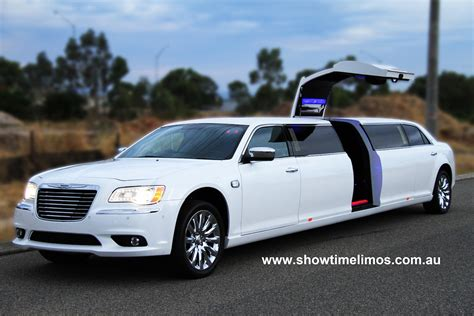 White Limo by Showtime Limousines Hire Perth White Jet Door Chrysler