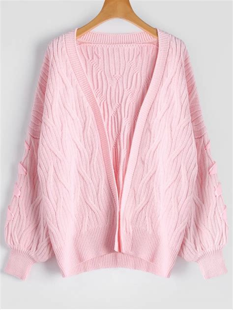 pink knit cardigan cable knit lace up oversized cardigan pink sweaters one