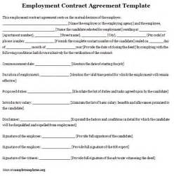 Basic Contract Of Employment Template by Employment Template For Contract Agreement Exle Of