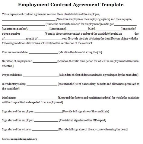 employee agreement template employment template for contract agreement exle of