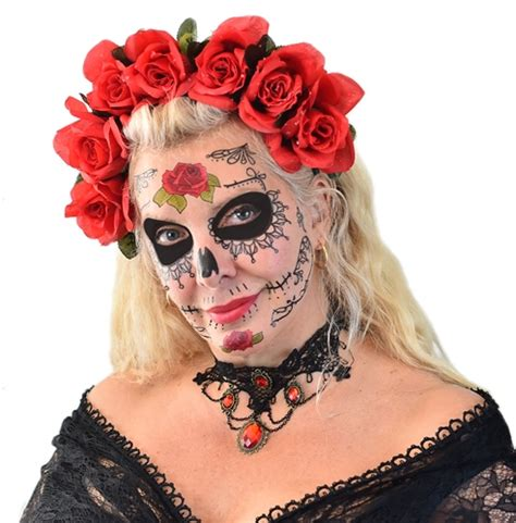 sugar skull temporary tattoo lace sugar skull day of the dead temporary