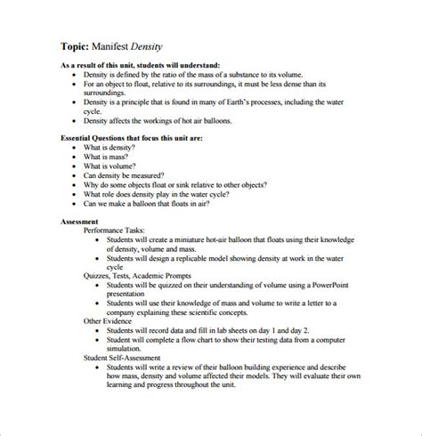 middle school lesson plan template 8 free sle