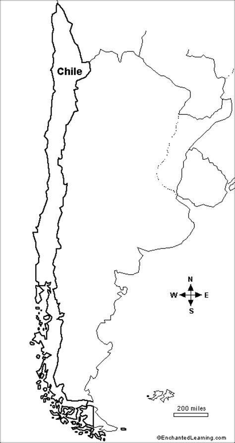 Coloring Page Map Of Chile | outline map research activity 1 chile